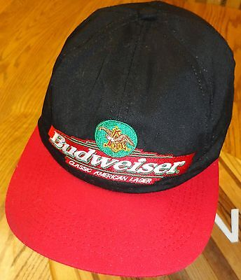 """BUDWEISER """"THE GREAT AMERICAN LAGER"""" ADJUSTABLE HAT GOOD CONDITION BLACK & RED"""