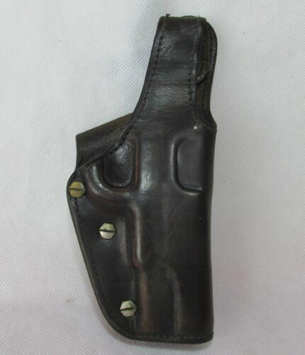 VINTAGE GUN HOLDER HOLSTER POUCH BELT HOLDER REAL GENUINE LEATHER  9mm EBERLE