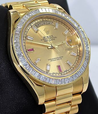 Rolex Day-Date II President 218238 18K Y Gold Baguettes Diamond 4.5CT Bezel CARD