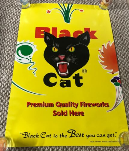 Black Cat FIREWORKS PROMO POSTER 4th of July Firecracker Promotional