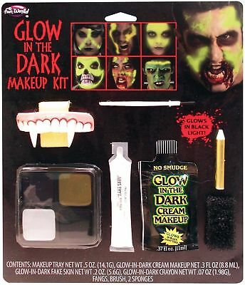 Glow in the Dark Makeup kit Halloween Zombie Teeth Vampire Fangs Costume NEW (Girl Halloween Vampire Makeup)