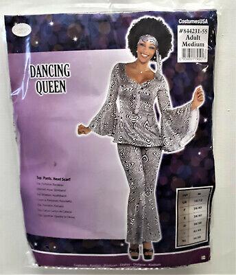Damen Kostüm Dancing Queen 70er  tanzen Disco Black White Königin Karneval  - Disco Tanzen Kostüm