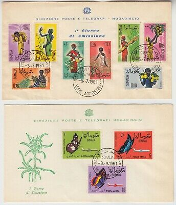 SOMALIA 1961 AGRICULTURAL PRODUCTS & COSTUMES & part set of 3 BUTTERFLIES FDCs