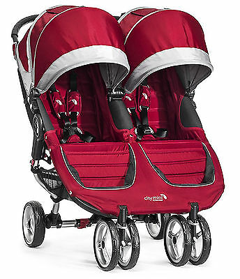 Baby Jogger City Mini Double Twin Stroller Crimson / Gray NEW 2016