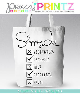 PROSECCO SHOPPING LIST CHRISTMAS GIFT MOTHERS DAY BIRTHDAY TOTE BAG ()