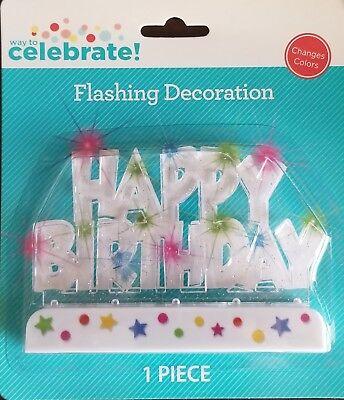Multi Color Flashing LED Happy Birthday Cake Topper - Flashing Happy Birthday