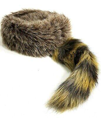 Baby Coon Skin Hat (Raccoon Tail Coonskin Hat Child Sm. Faux Fur Davey Crockett Daniel Boone)