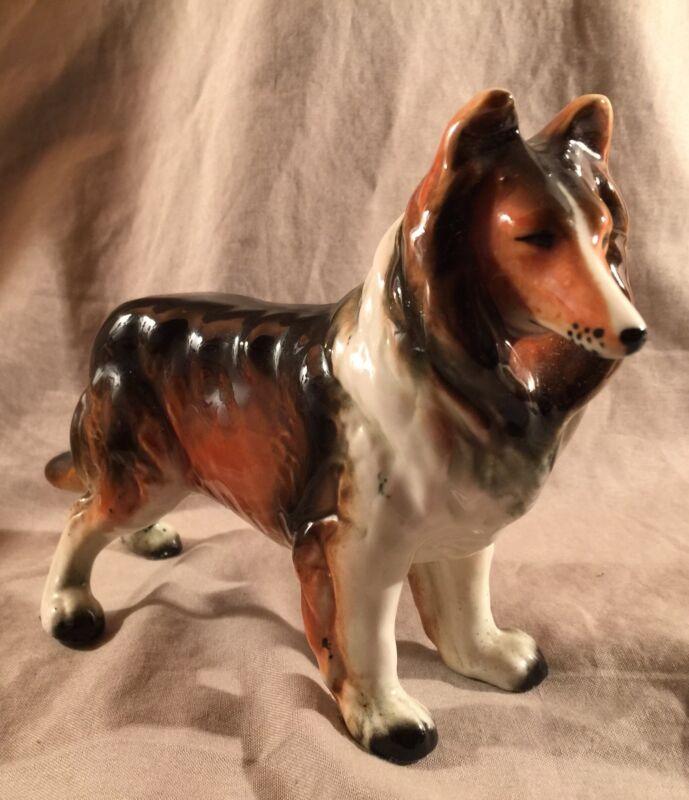 Vintage Collie Dog Ceramic Porcelain Figurine Gloss Japan Wales PRIORITY MAIL