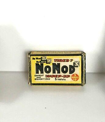 Vtg 40s NoNOD Over Counter Pep Up Stay Awake Medicine EMPTY Tiny CARDBOARD BOX