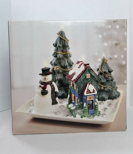 Holiday Candle Garden JCPenney Home Collection New In Box Snowman Trees Cottage
