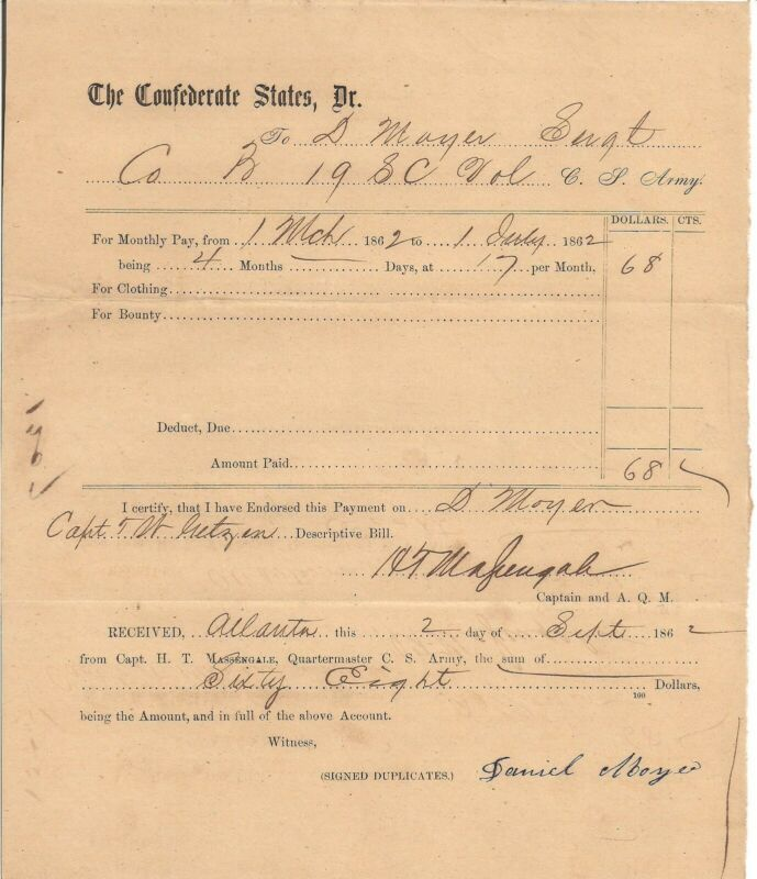 1862 Confederate Daniel Moyer 19th SC Volunteers Mortally Wounded Atlanta