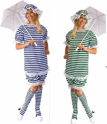 1800s Old Fashion Bathing Suit Green, Blue or Red Stripe Adult LADIES Costume