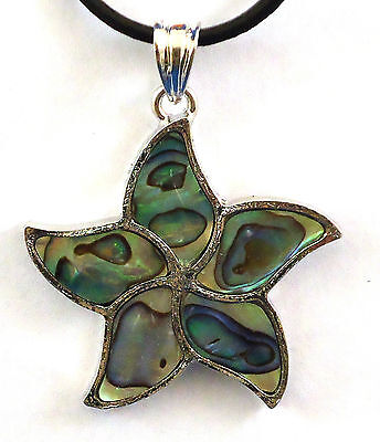 Star Pendant Natural Paua Abalone Shell On Real Leather Thong With Silver Clasp