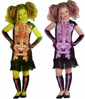 Girls Shocking X-Ray Skeleton Halloween Costume Choose Size & Color Pink Purple