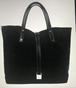 Tiffany Co Black Suede And Leather Small Trt Reversible Tote Bag