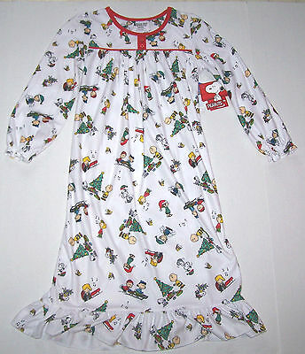 Nwt New Peanuts Christmas Flannel Granny Nightgown Pajamas White Cute Nice Girl