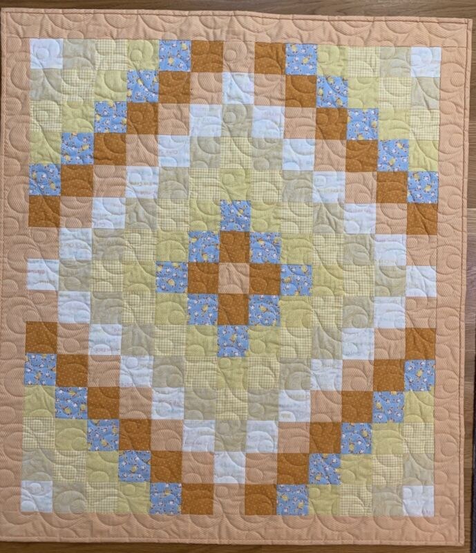 "Handmade Blue, Soft Yellow, and Orange Baby Boy's Quilt, 36 1/2"" X 40 1/2"""