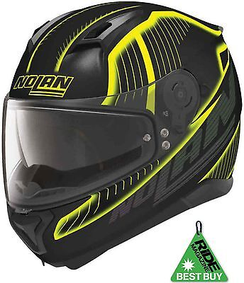 Nolan N87 Harp N Com Yellow Black Motorcycle Helmet Pinlock Ride Best Buy