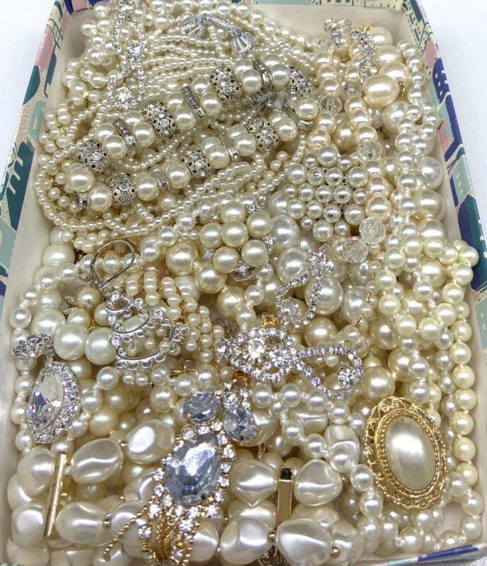 Broken Faux Pearl Jewelry Lot Craft Repair Repurpose Clear Rhinestone Vintage