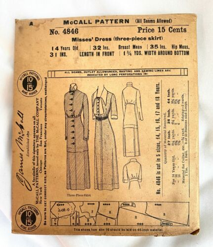Antique 1910s McCall Sewing Pattern 4846 Misses Dress Edwardian 3-Piece Skirt XS