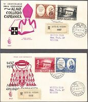 Vaticano Vatican 2 Buste Raccomandata Fdc Venetia 1957 5 Collegio Capranica Vedi -  - ebay.it