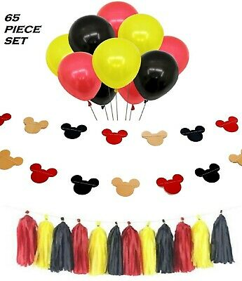 Mickey and Minnie Mouse Birthday Party Decorations Set - Balloons Banner Garland