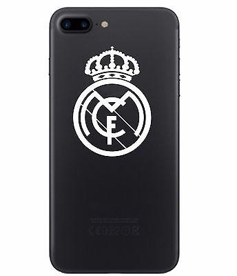 2 (PAIR) Real Madrid Vinyl Decal Smart Phone White Chrome Sticker Soccer Futbol