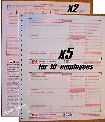 2016 Irs Tax Forms W 2 Wage Stmt Carbonless 5 Sets For 10 Employees   2 Form W 3