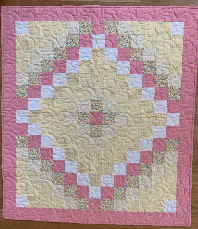 """Handmade Coral Pink and Light Yellow Baby Girl's Quilt, 37"""" X 42"""""""