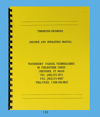 Grinder Operations and Parts Manual 1984 Thompson CX