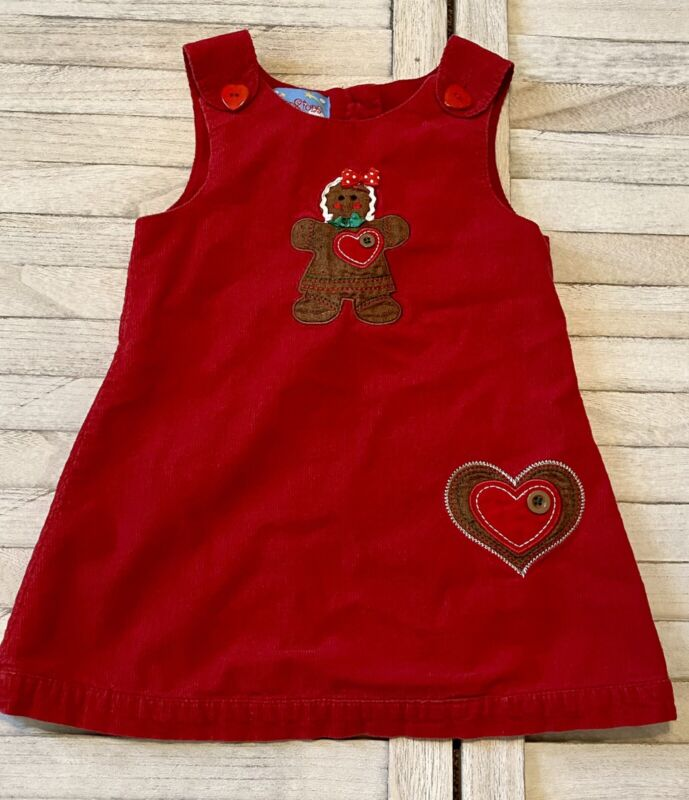 Corduroy Red Gingerbread Heart Christmas Dress 2T