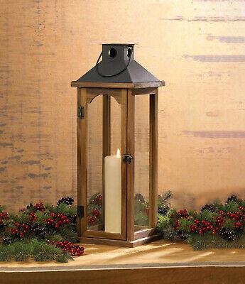 "large 22"" tall brown wood metal Candle holder Lantern Lamp t"