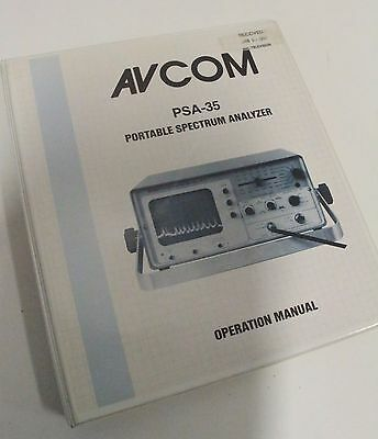 Avcom Psa-35 Portable Spectrum Analyzer Operation User Manual