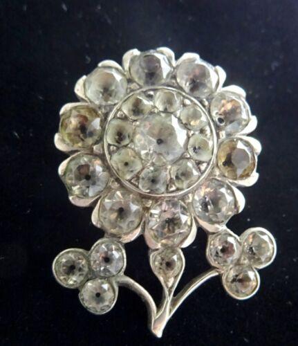Georgian Black dot Paste and Silver Flower Brooch