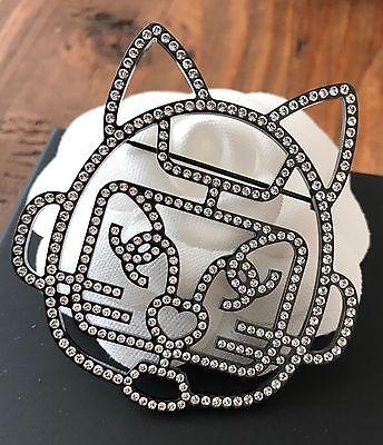 BNIB Chanel Runway Large Robot Cat Choupette Lagerfeld Crystal Metal Brooch Pin
