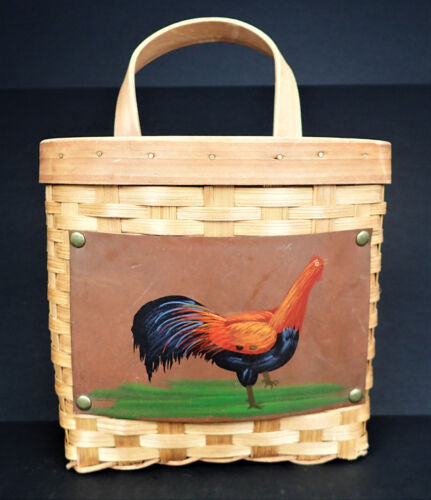 Chicken Rooster Hen Hanging Catch All Letters Basket Farm Country Decor