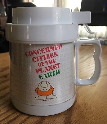 Vintage 1990's Ziggy Plastic Insulated Coffee Mug - Cup with Lid - Planet Earth