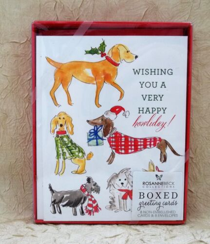 Wishing You A Very Happy Howliday! Dog Themed Boxed 8 Cards & Envelopes New