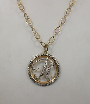 Sterling silver circle Round PENDANT necklace 925 chain 30 inche R monogram
