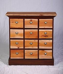 Lovely hand made solid hardwood upcycled apothecary style drawers Oakford Serpentine Area Preview