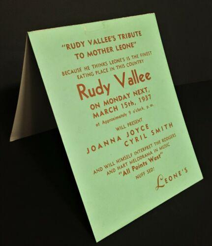 1937 SINGER RUDY VALLEE @ MAMMA LEONE