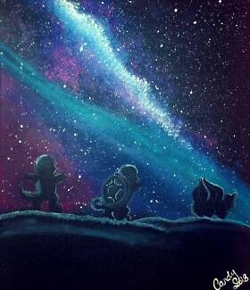 Pokemon Galaxy Original Acrylic Painting Nursery Anime decor