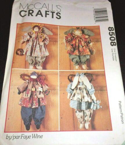 McCalls 8508 Faye Wine Angel Dolls Bunny Snowman Sunflower Vtg Sewing Pattern FF