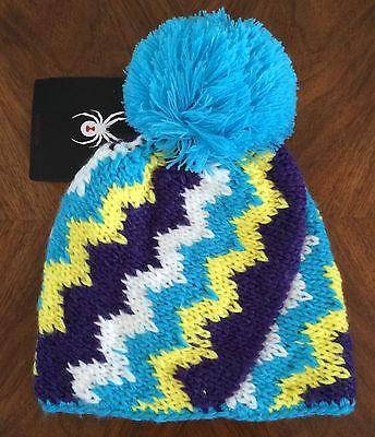 SPYDER Womens One Size Mosaic Hat Winter Acrylic Knit Turquoise Multi 137456