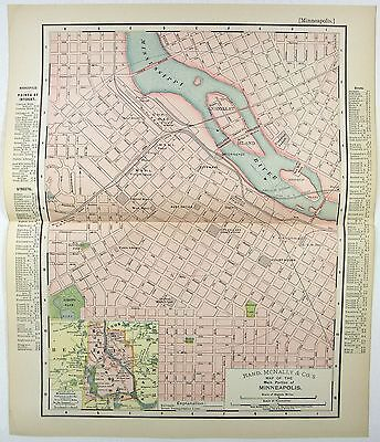 Original 1895 Map of Minneapolis, MN by Rand McNally