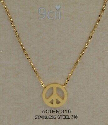 Damen Hals Kette hochwertiger Edelstahl 316 Anhänger Peace Zeichen Farbe gold
