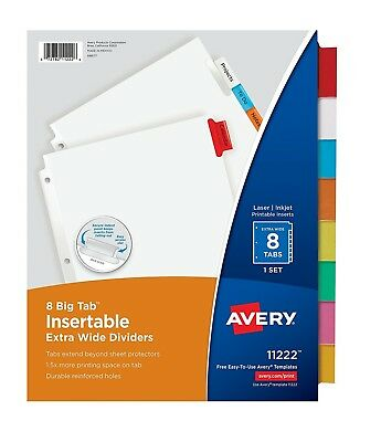 Avery Big Tab Insertable Extra Wide Dividers 8 Multicolor Tabs 1 Set 11222 NEW!! Avery Big Tab Insertable Dividers