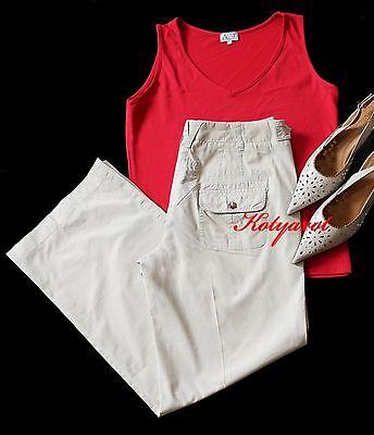 Windsor klassische elegante Hose Gr. 40 / 38 Beige Creme + Aust Top Shirt Rot - Elegantes Shirt Hose