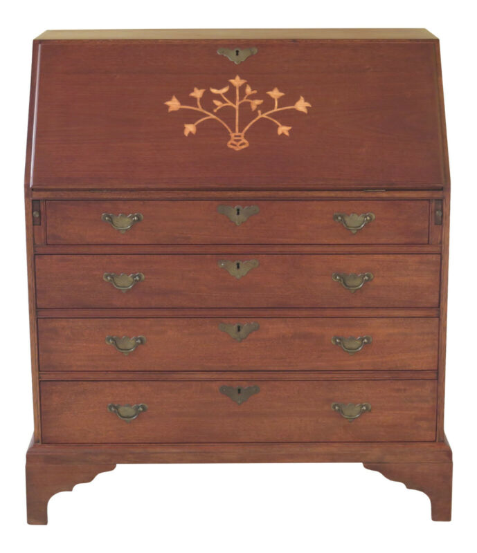 F47518EC: COLONIAL Edison Institute Inlaid Mahogany Desk