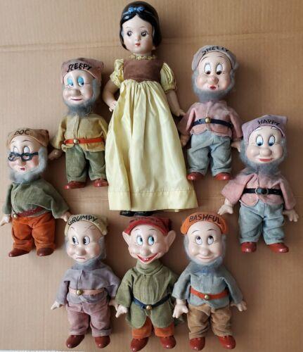 "1937 Set Vintage Knickerbocker Disney Snow White & Seven Dwarfs Plush Dolls 15"""